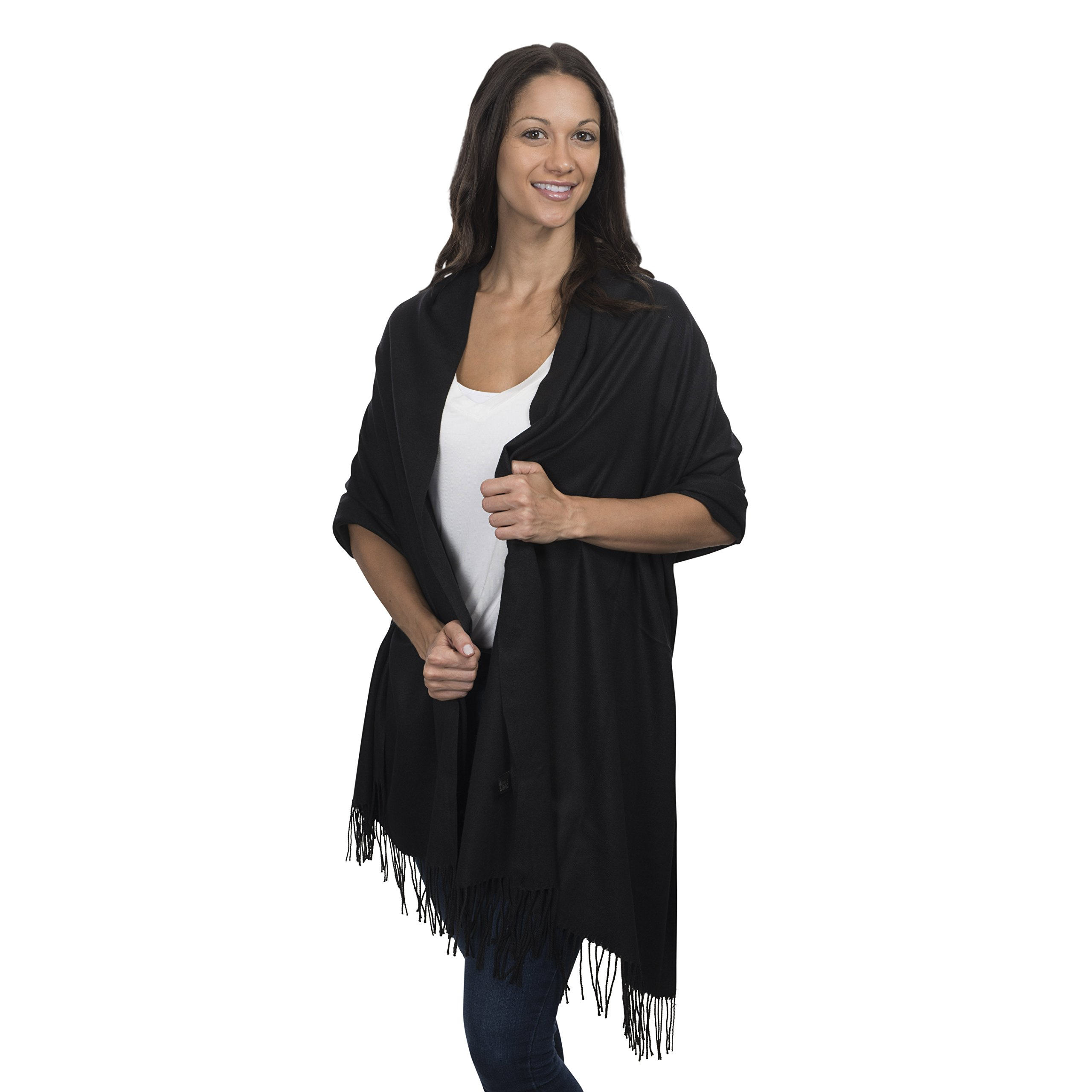 Cashmere & Class Large Soft Cashmere Scarf Wrap - Womens Winter Shawl + Gift Box (Black)