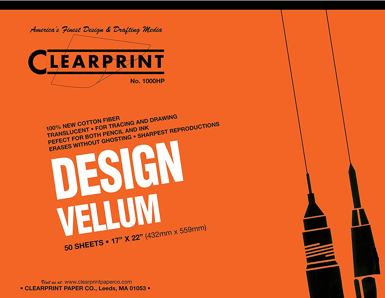 1 Each 16 lb. 10001420 Translucent White 50 Sheets 17 x 22 Inches 100/% Cotton Clearprint 1000H Design Vellum Pad