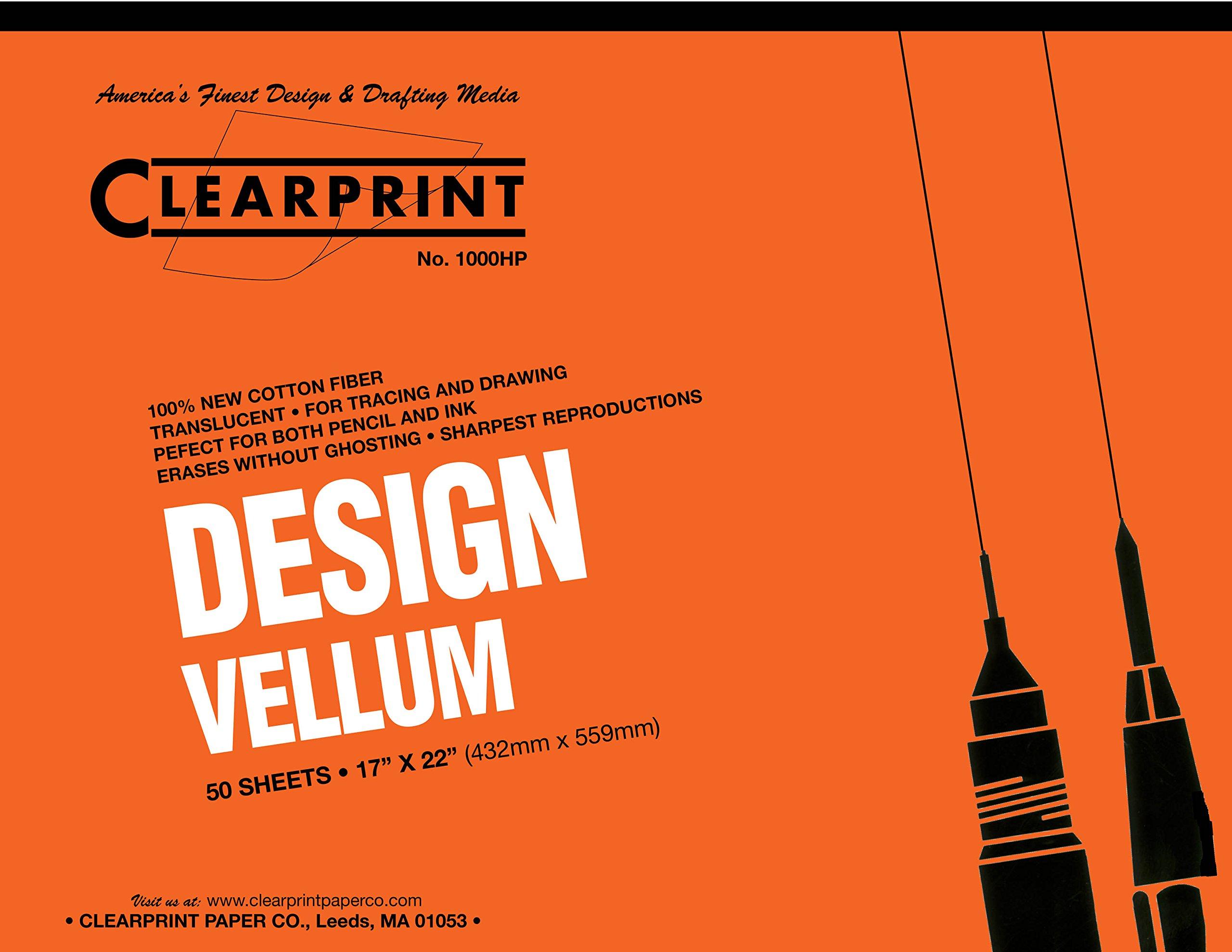 Clearprint 1000H Design Vellum Pad, 16 lb., 100% Cotton, 17 x 22 Inches, 50 Sheets, Translucent White, 1 Each (10001420)