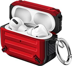 Maxjoy Airpod Pro Case Cover TPU Sword Armor Series Case Full Body Rugged Protective Case with Keychain Shockproof Airpod Case for Apple Airpod Pro Charging Case (Red)