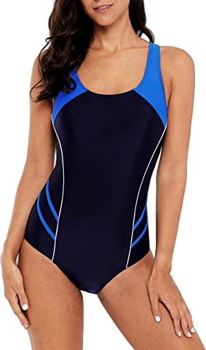 beautyin Women's One Piece Athletic Racerback Swimsuit Slimming Bathing Suit