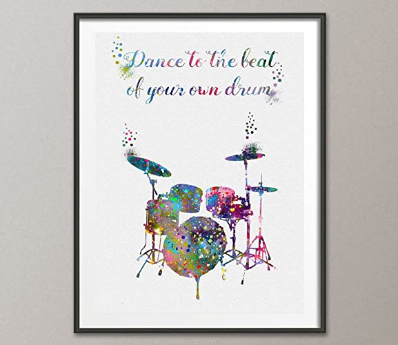 Amazon Drums Quote Watercolor Poster Art Print Wall Decor