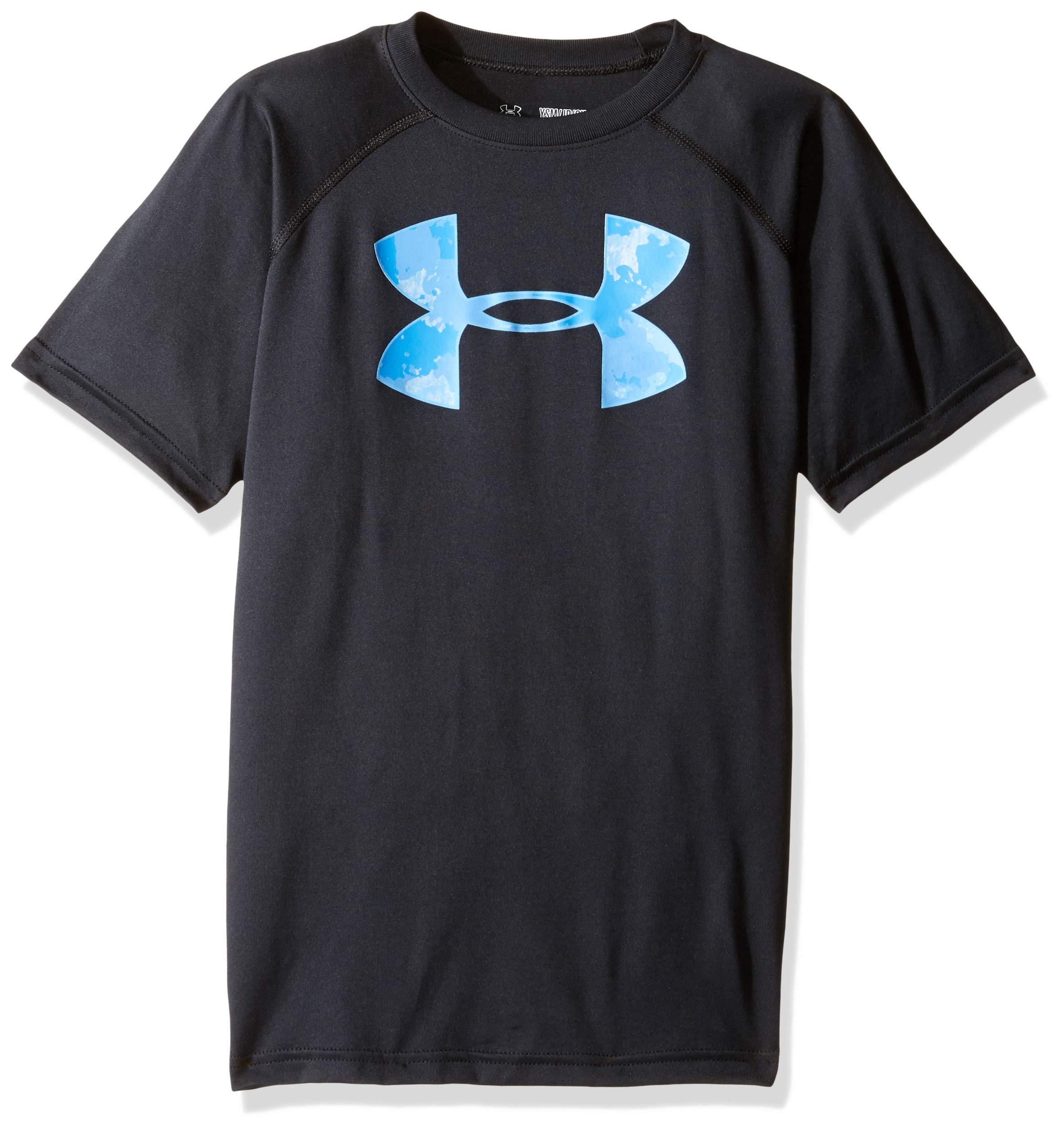 Under Armour Boys' Tech Big Logo T-Shirt, Black /Carolina Blue, Youth X-Small