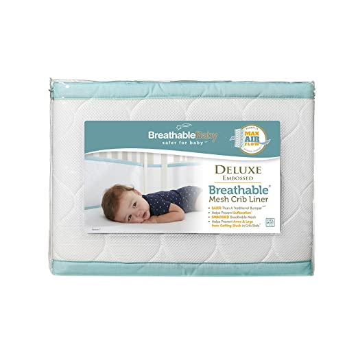 Amazon BreathableBaby Deluxe Embossed Mesh Crib Liner White Seafoam Baby