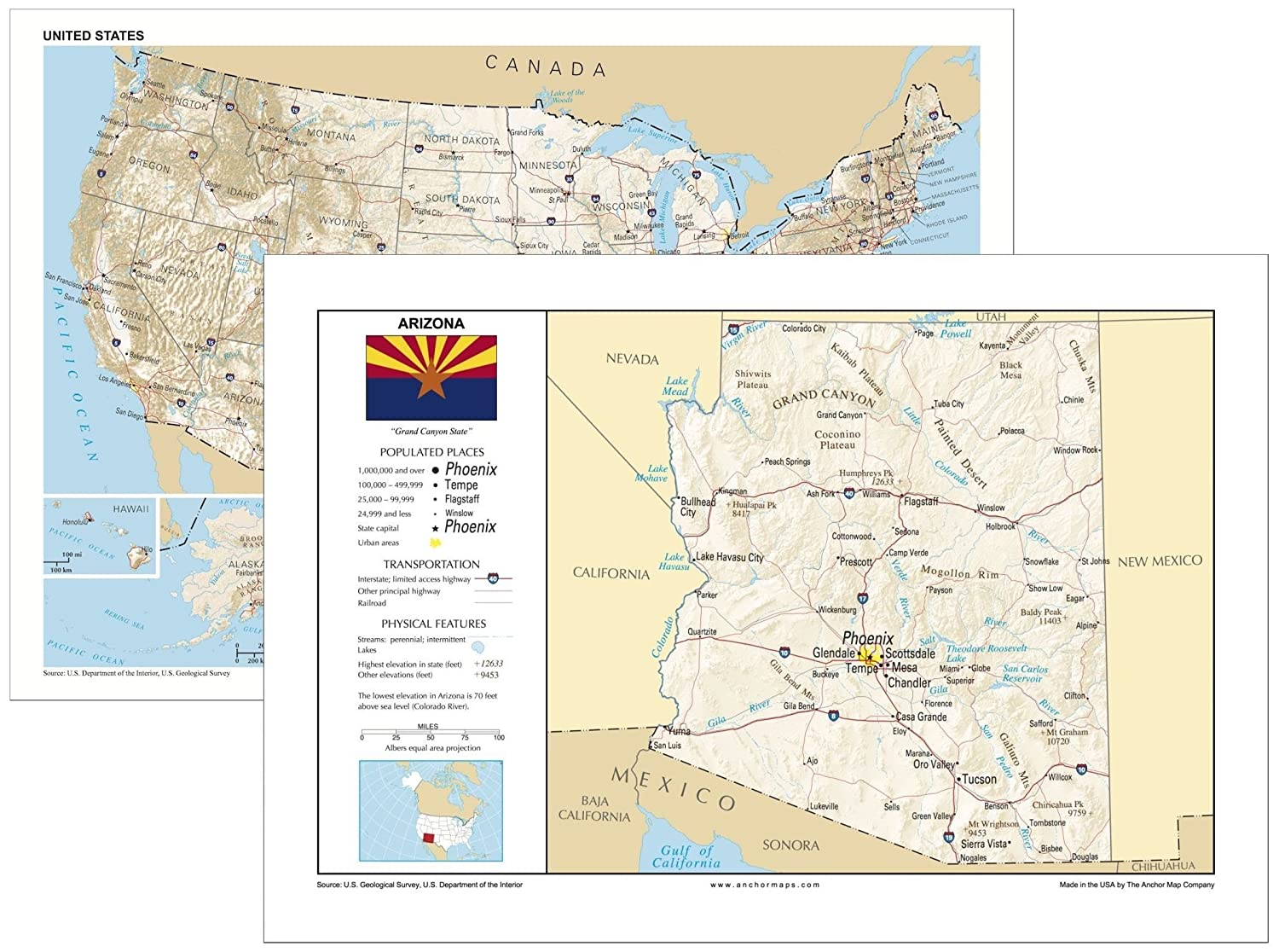 Amazon.com : 13x19 Arizona and 13x19 United States General ...