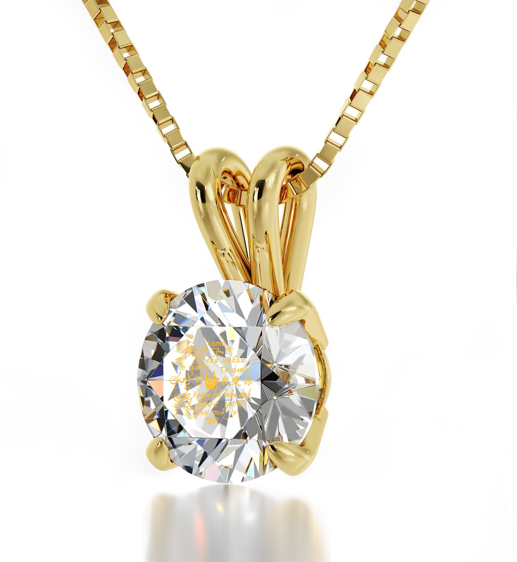 14k Yellow Gold I Love You Necklace Solitaire Pendant 12 Languages 24k on Clear Crystal, 18'' Gold Filled by Nano Jewelry (Image #2)