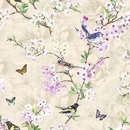 Vogels Vlinders Bloemen Bloemen Bloemen Behang Bomen Natuur Tuin K2 Maylea Neutraal Amazon Nl