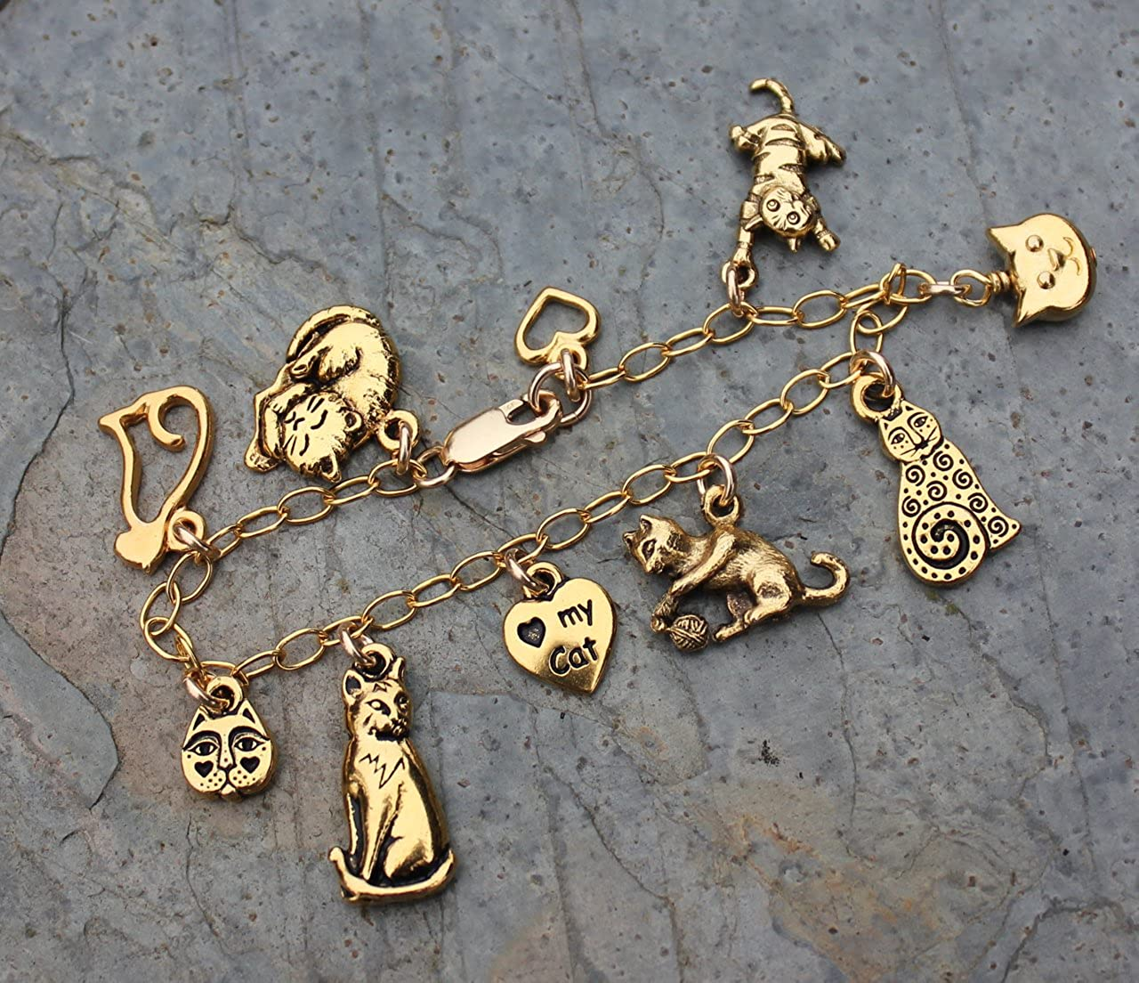 Sizes XS-XL Night Owl Jewelry Love My Cat Charm Bracelet Gold Plated Kitty Themed Charms with 14k Gold Filled Chain