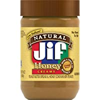 Jif Natural Creamy Peanut Butter with Honey, 16 Ounces, 7g (7% DV) of Protein per Serving, Smooth, Creamy Texture, No Stir Natural Peanut Butter
