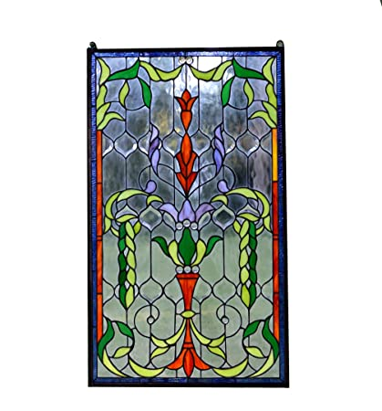 Large Stained Glass Window.20 5 X 34 5 Large Tiffany Style Stained Glass Beveled Window Panel