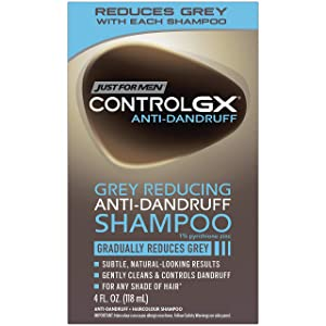 Just For Men Control GX Grey Reducing Anti-Dandruff Shampoo, Gradually Colors Hair, 4 Fl Oz