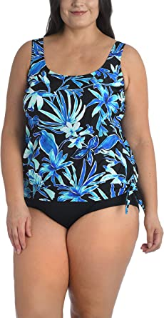 Maxine Of Hollywood Womens Plus-Size High Neck Tankini Swimsuit Top