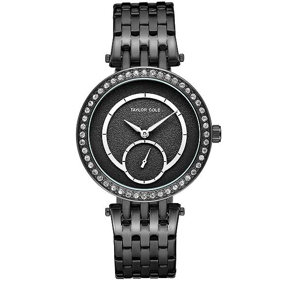 Taylor Cole Reloj Mujer de Moda Analógico Cuarzo Acero Inoxidable Reloj de pulsera Negro TC135