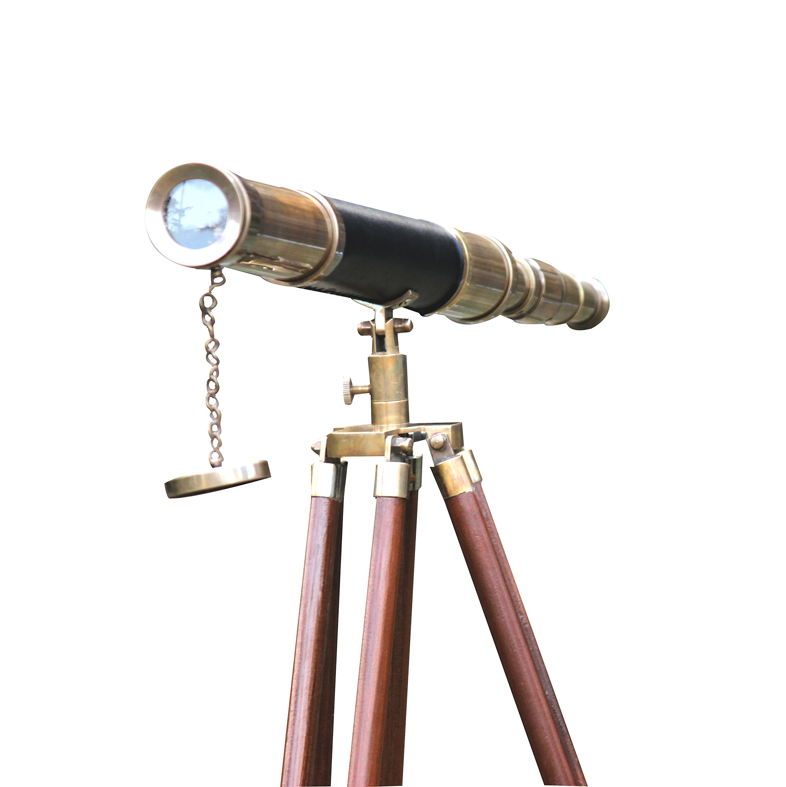 Sailor Boat Antique Telescope Black Leather Wooden Stand Marine Royal Telescopes by Collectibles Buy (Image #8)