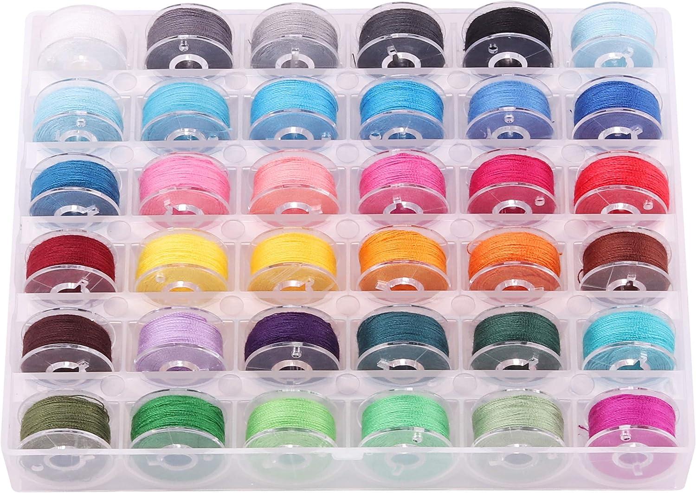 Nolloi 36 piezas de hilos de bobina para máquina de coser con caja de almacenamiento transparente, colores surtidos