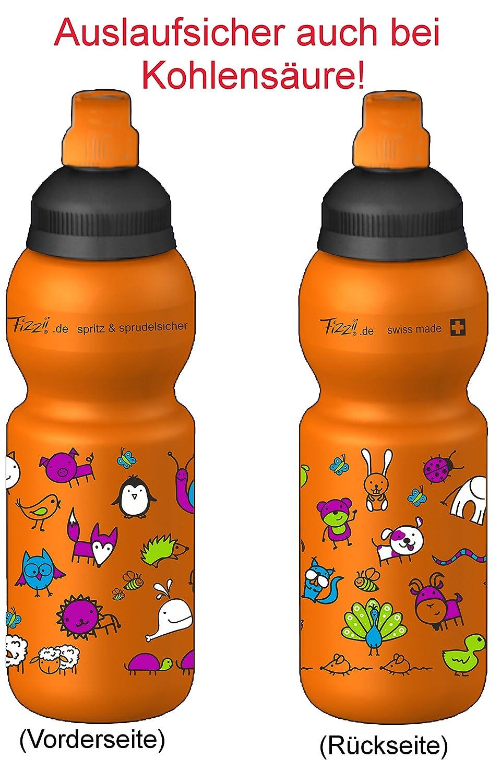 Fizzii Niños 330 Naranja Plástico botella caño seguro en carbón Acid, sin sustancias nocivas, apto para lavavajillas, animales Mundo, 330 ml: Amazon.es: ...