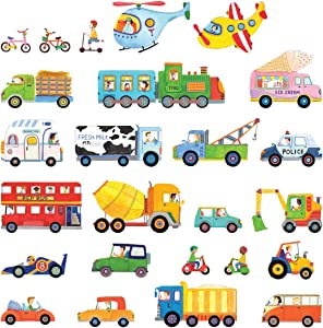 DECOWALL DS-8015 The Transports Kids Wall Stickers Wall Decals Peel and Stick Removable Wall Stickers for Kids Nursery Bedroom Living Room (Small) décor