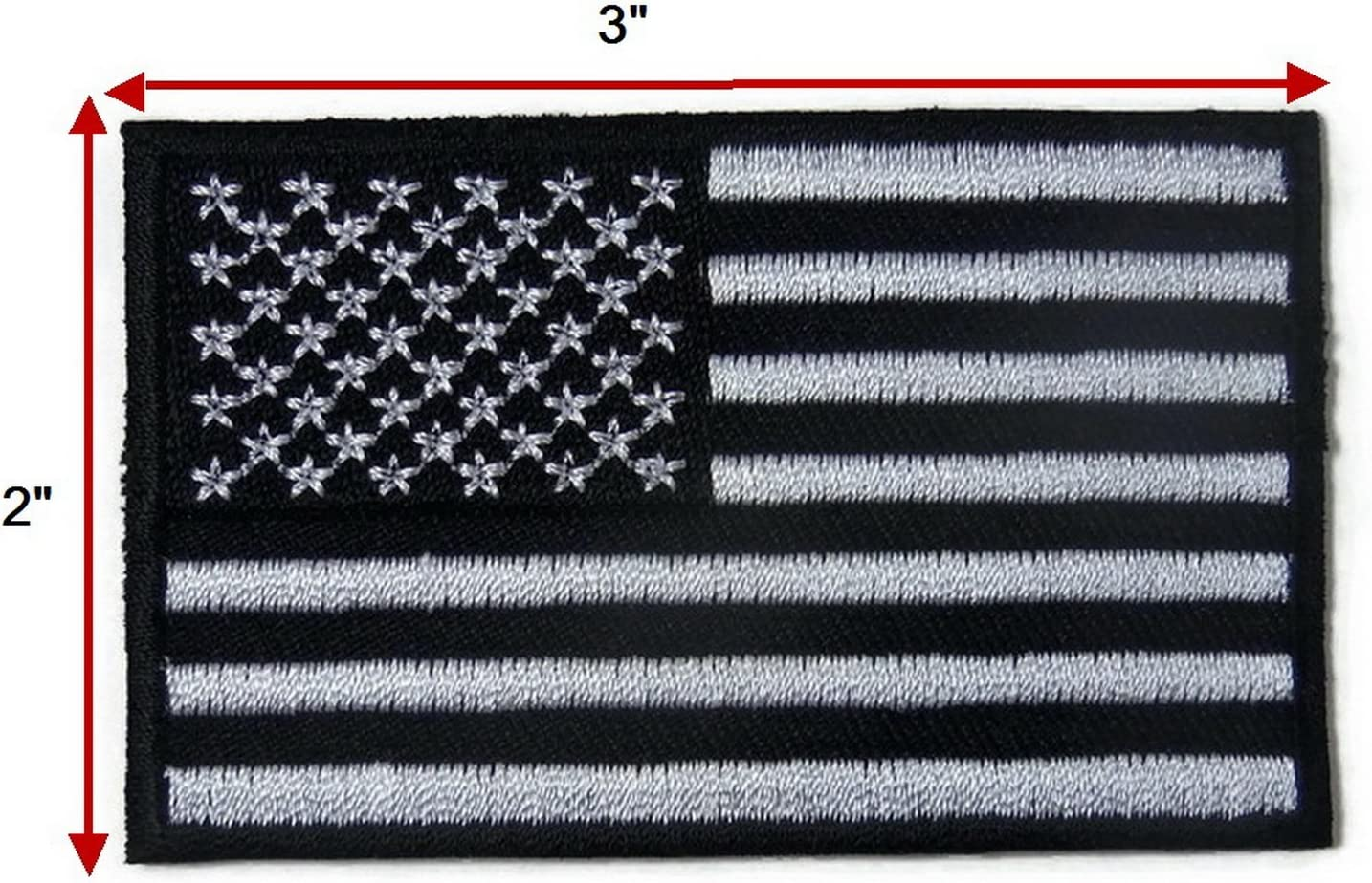 """Embroidered 5/"""" American US Flag Black /& White Sew or Iron on Patch Biker Patch"""