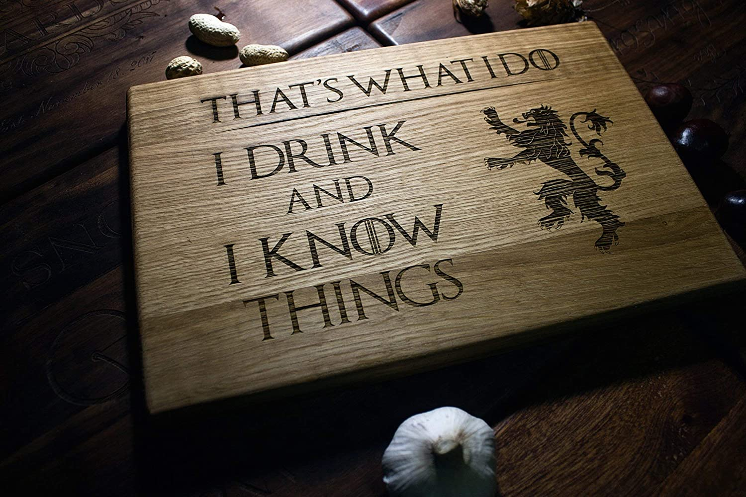House Lannister Tyrion That's What I Do I Drink And I Know Things Cook Personalized Cutting Board Games of thrones Stark Engraved Custom Family Wedding Gift Anniversary Housewarming Birthday Christmas game14