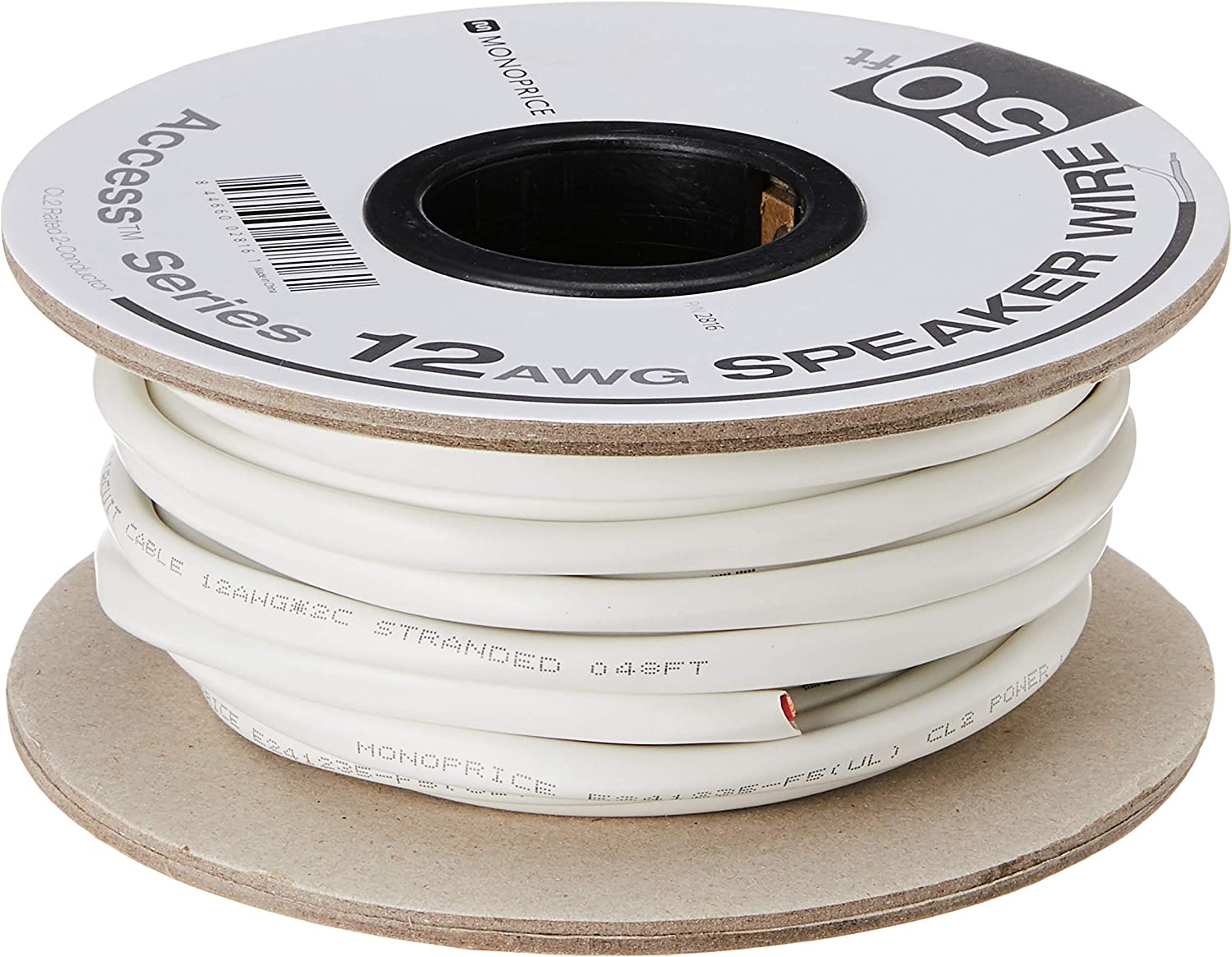 Monoprice Access Series 12 Gauge AWG CL2 Rated 2 Conductor Speaker Wire/ Cable - 50ft Fire Safety In Wall Rated, Jacketed In White PVC material 99.9% Oxygen-Free Pure Bare Copper