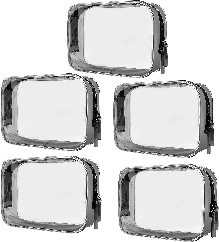 Sac Cosm/étiques Transparent 5 Pi/èces Trousse Toilette Transparente Sacs de Maquillage en PVC Clair Trousse de Toilette /Étanche pour Les Vacances la Salle de Bains et lOrganisation