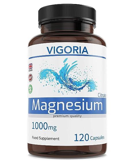 Citrato de magnesio Alivia el cansancio y la fatiga - Salud muscular y ósea - Refuerza el sistema nervioso - Ayuda a dormir mejor - 1000 mg 120 ...