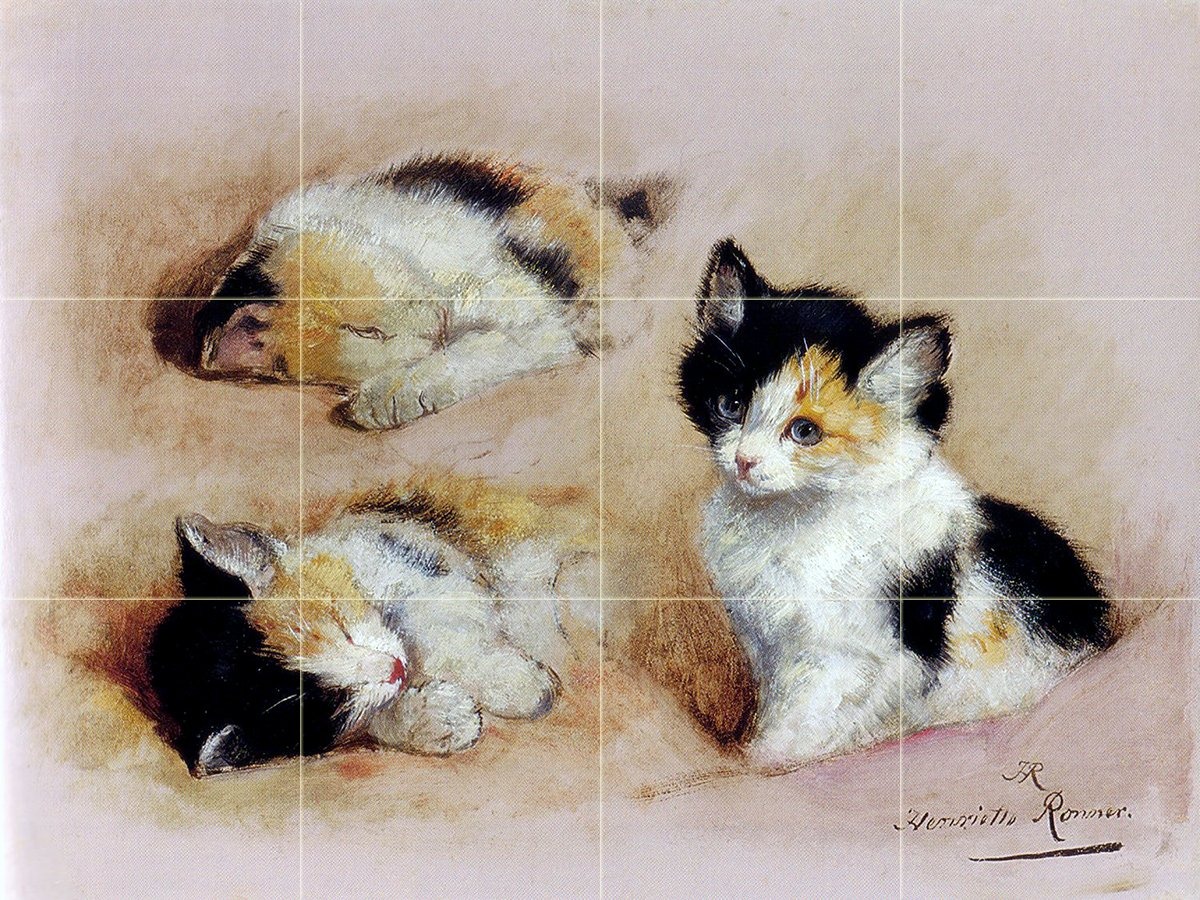 Waking Kitten H. Ronner-Knip cat pet Tile Mural Wall
