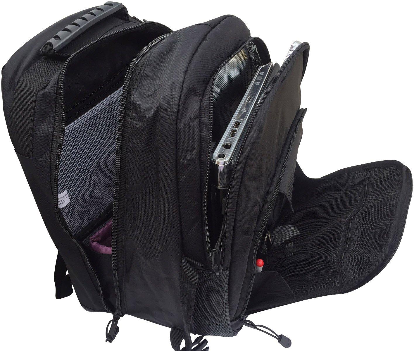 多機能カメラバックパック パッド入りカメラバッグインサートと15.4インチのノートパソコンコンパートメント付き ブラック B01MSDUU7R