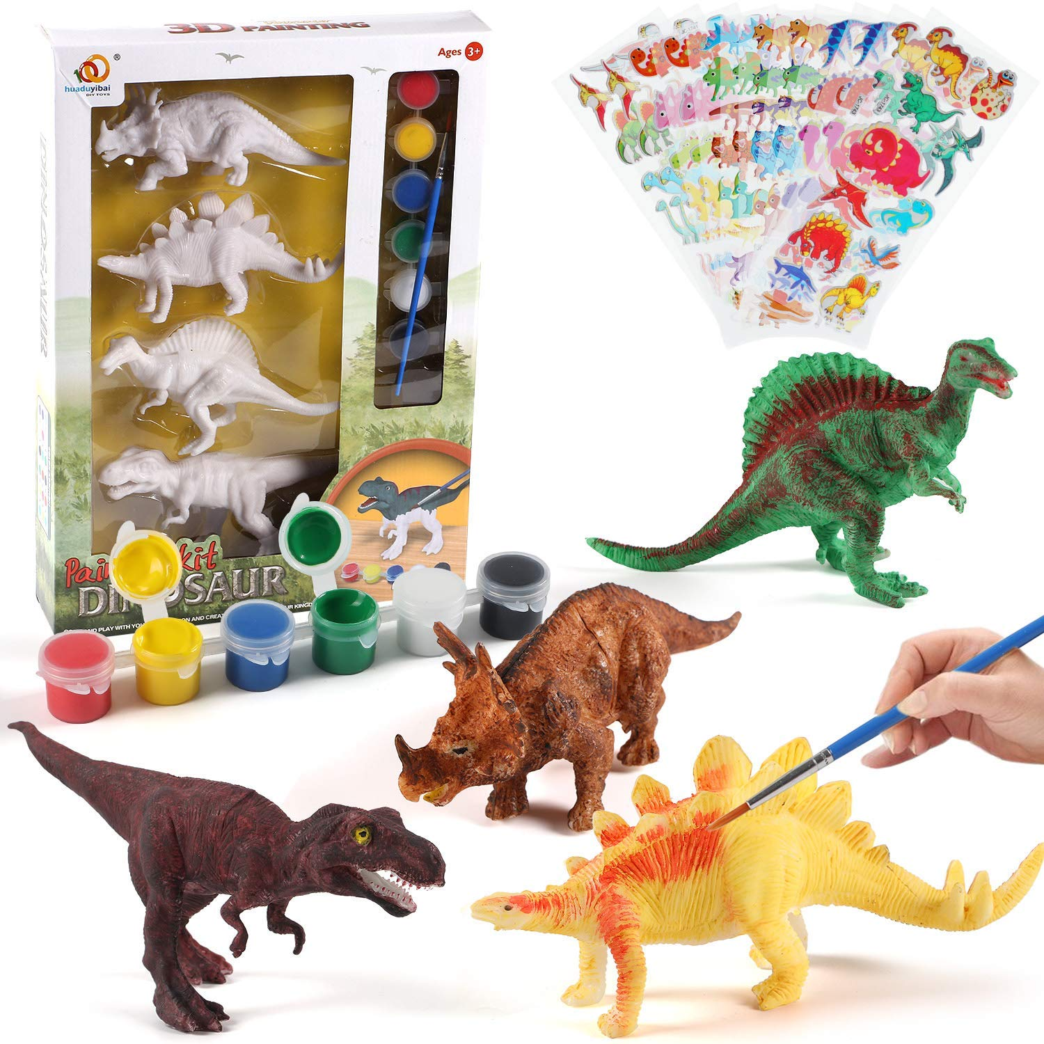 NEOWOWS Decorate Your Own Dinosaur Figurines DIY Dinosaur Arts Crafts 3D Painting Dinosaurs Toys for Kids Boys Girls by NEOWOWS