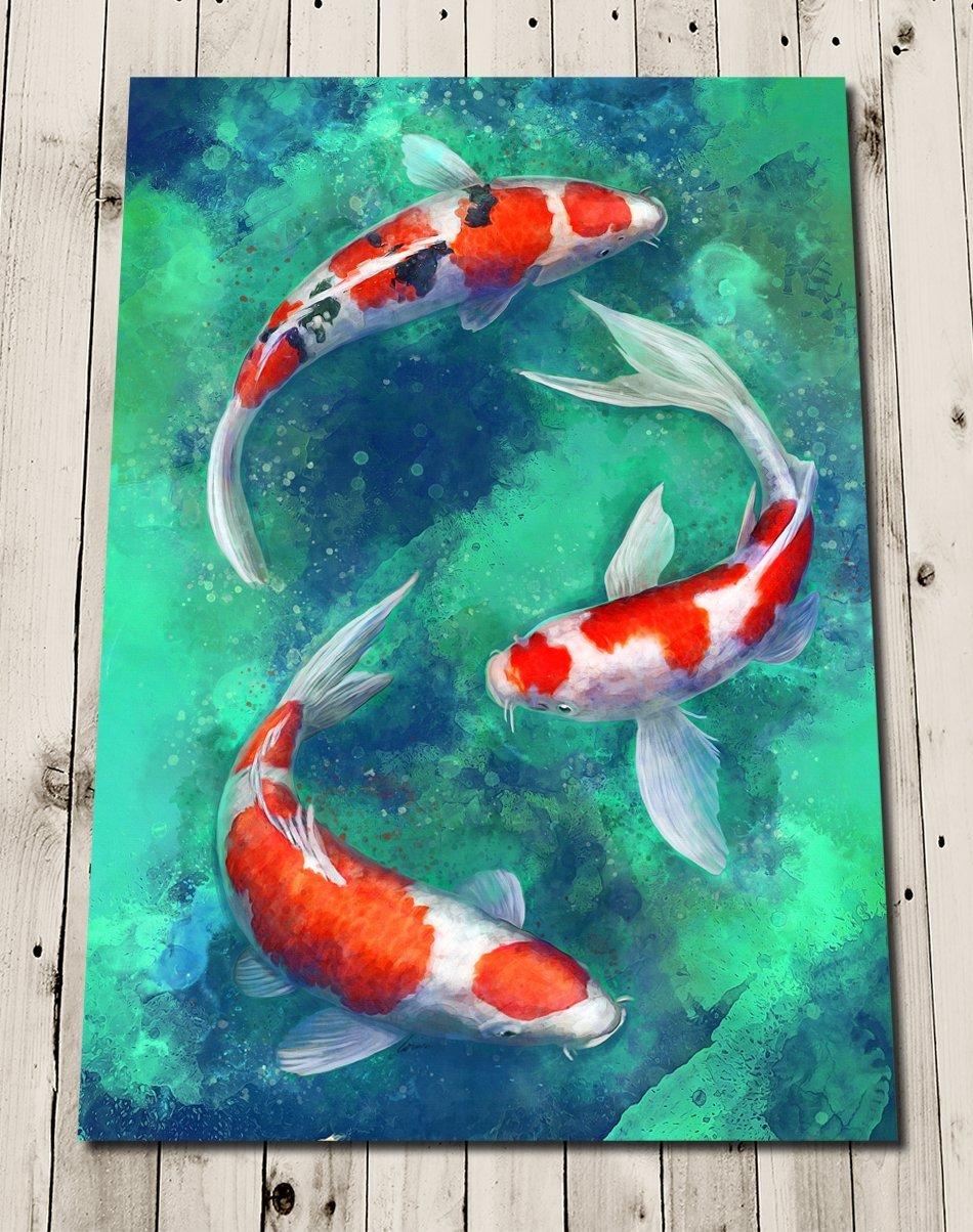 Amazon Com Japanese Koi Fish Print Painting Koi Carp Print Zen Wall Artwork Handmade