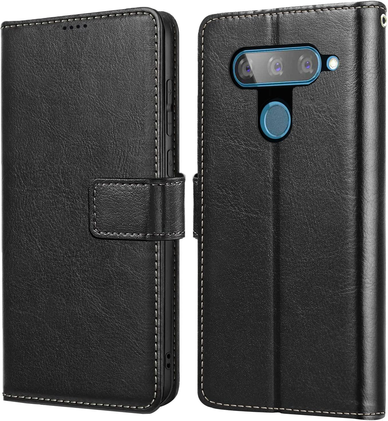 YECOSIN Phone Case for LG V40 and LG V40 ThinQ Flip Leather Cover for LG V40 ThinQ Holsters Wallet Case Black