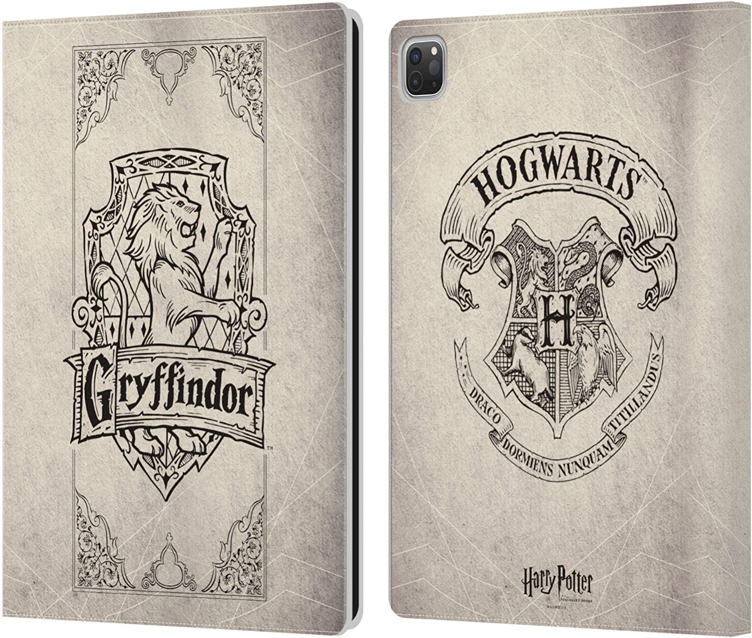 Head Case Designs Officially Licensed Harry Potter Gryffindor Parchment Sorcerer's Stone I Leather Book Wallet Case Cover Compatible with Apple iPad Pro 12.9 (2020/2021)