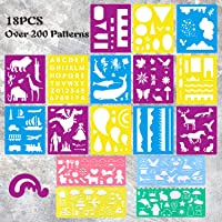 CZONG 18 Pcs Plastic Journal Stencils Set Over 200 Different Patterns for Kids Ideal for Educational and Creativity Toy…