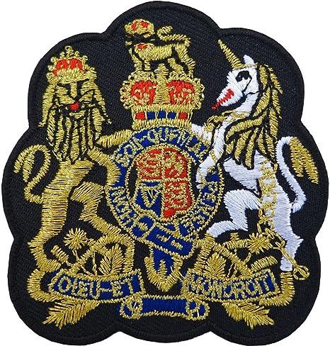 Parche bordado con el escudo del Reino Unido, con la corona de oro británica, para planchar o coser: Amazon.es: Hogar