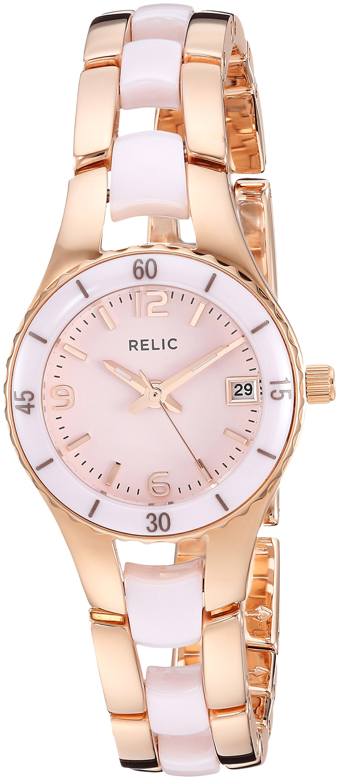 Relic Women's Charlotte Quartz Stainless Steel and Ceramic Dress Watch, Color Rose Gold-Tone, Pink (Model: ZR12555)