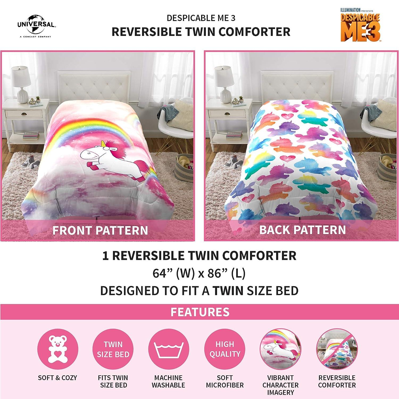 "Universal Despicable Me Fluffy Unicorn Kids Bedding Soft Microfiber Reversible Comforter Twin Size 64/"" x 86/"" Multi-Color"