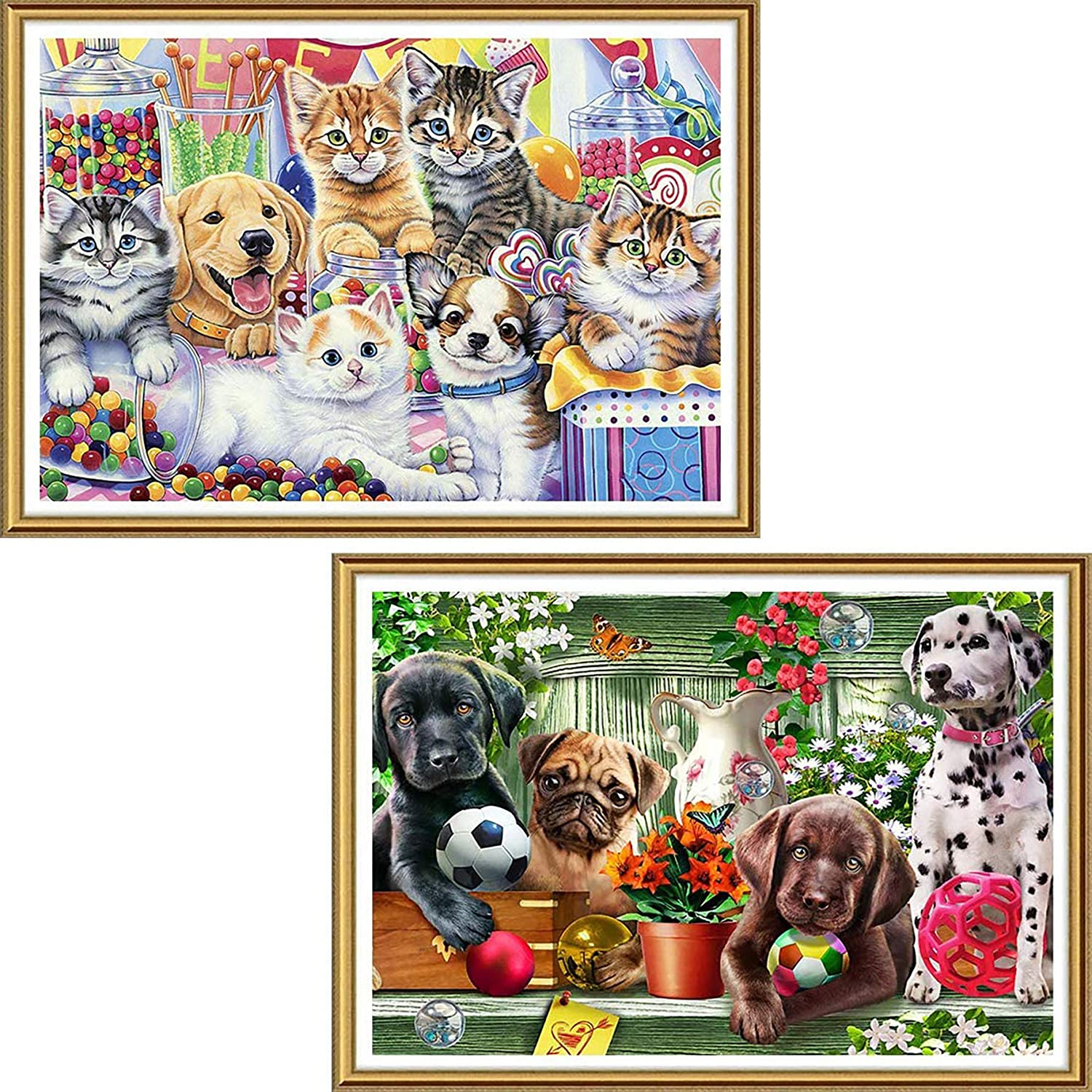 Yomiie 5D Diamond Painting Arts Full Drill Puppy Kitten Kitchen & Dog Garden by Number Kits, Pets Paint with Diamond Cross Stitch Animal DogCat DIY Craft Decor (12x16inch, 2 Pack) a202