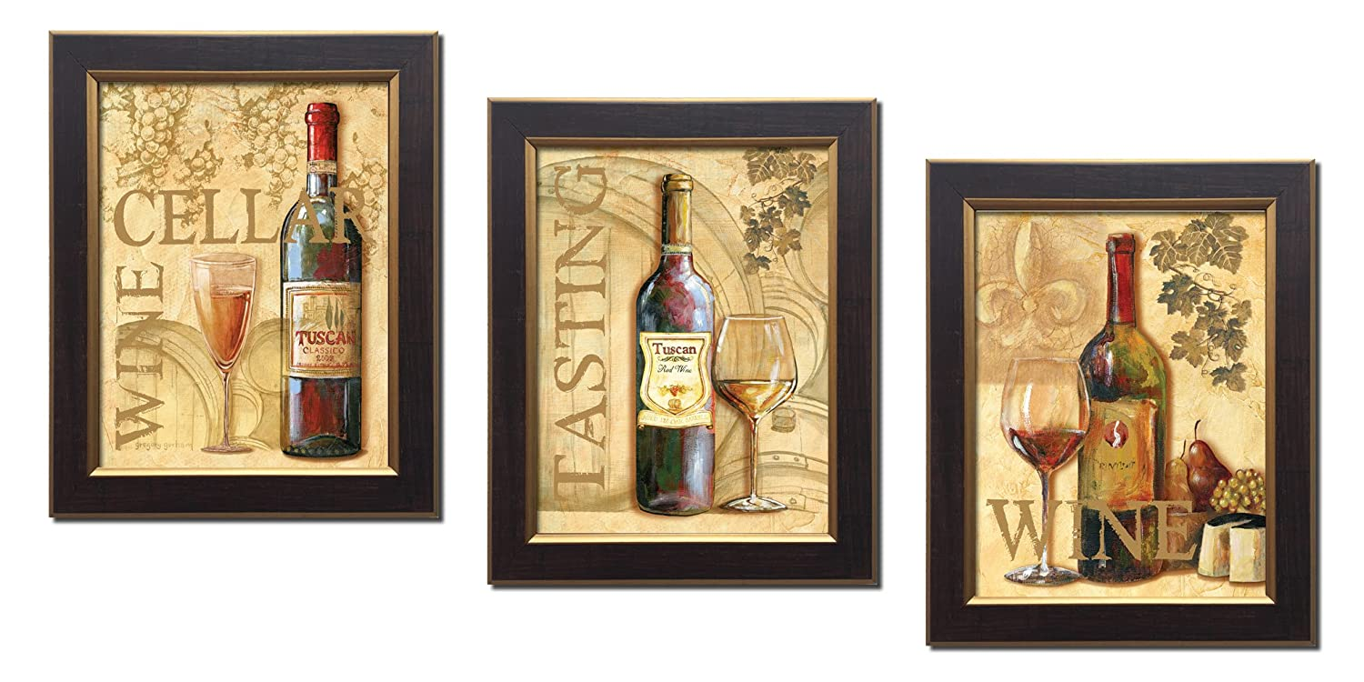 Amazon.com: 3 Wine Grape Art Prints Tuscany Cellar Tasting; Kitchen ...
