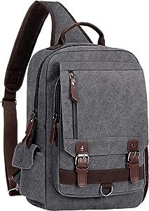 """WOWBOX Sling Bag for Men Women Sling Backpack Laptop Shoulder Bag Retro Canvas Crossbody Messenger Bag Fit 13.3"""" Laptop Tablet"""