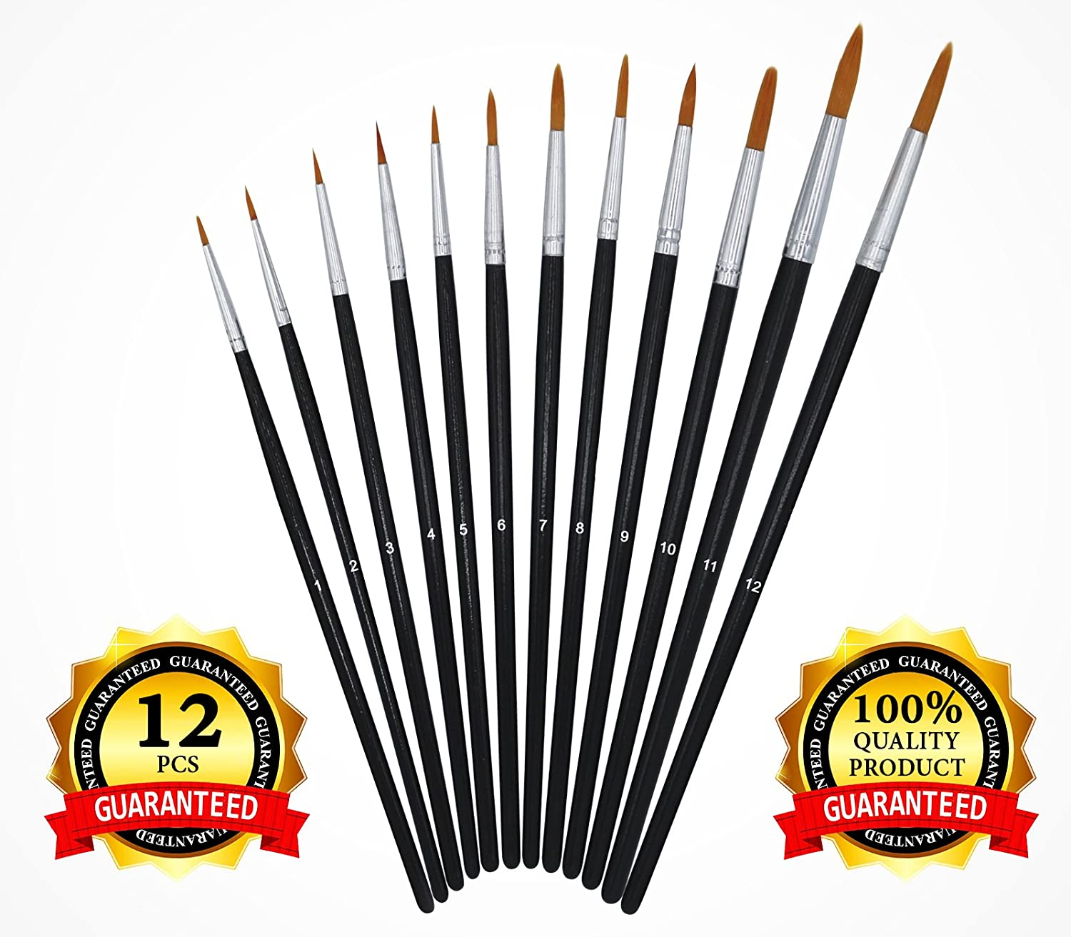 Paint Brush Set - Round Pointed Tip Nylon Hair - Short Handle - Paint Brushes Art Set for Acrylic Watercolor Oil Gouache Tempera. Artist Paint Brushes for Kids Student Artist or Hobbyist - 12 Pieces USABestSolution 4336962553
