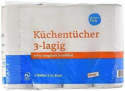 tegut kleinster Precio Cocina paños de 3 capas, 4 rollos de 51 hojas, 2