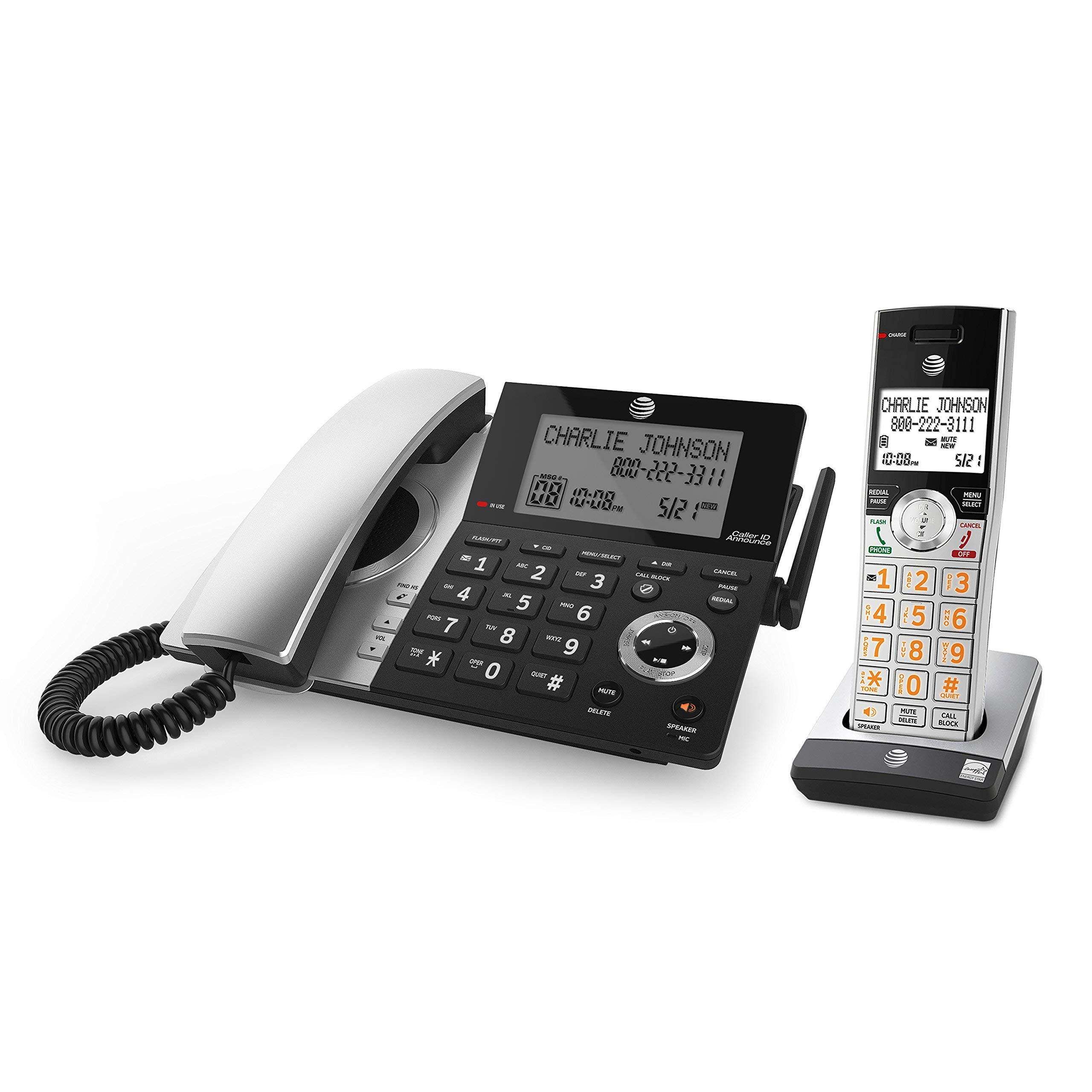 AT&T CL84107 DECT 6.0 Expandable Corded/Cordless Phone with Smart Call Blocker, Black/Silver with 1 Handset (Renewed) by AT&T (Image #3)