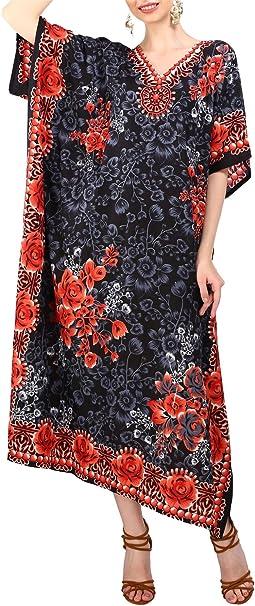 Miss Lavish London Donne Kaftan Tunica Kimono Libero Formato Lungo Maxi Partito Vestito per Loungewear Vacanze Pigiama Spiaggia di Tutti i Giorni Coprire i Vestiti #101