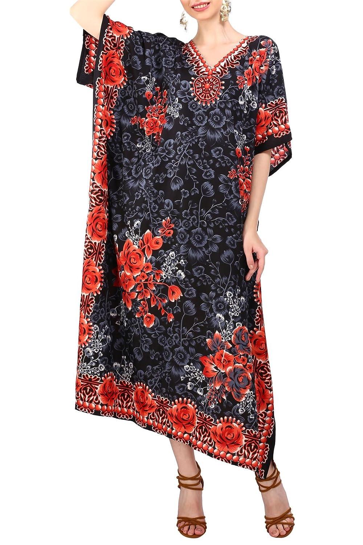 Miss Lavish London donne Kaftan tunica kimono libero formato lungo maxi partito vestito per loungewear vacanze pigiama spiaggia di tutti i giorni coprire i vestiti Nero EU 38-44