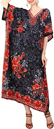 Miss Lavish London Women Kaftan Tunic Kimono Free Size Long Maxi Party Dress for Loungewear Holidays Nightwear Beach Everyday Cover Up Dresses