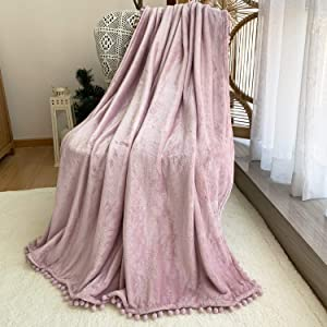 FANSIY Flannel Throw Blanket with Pompom Tassel Lightweight Cozy Bed Blanket Soft Blanket for Couch Sofa Home Decor(Pink,51x63)