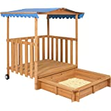 Best Choice Products Kids Outdoor Retractable Playhouse Fort With Sandbox Children's Play Area
