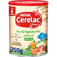 Nestle Cerelac Infant Cereals Rice & Vegetable Mix from 6 months onwards, 350g, Brown