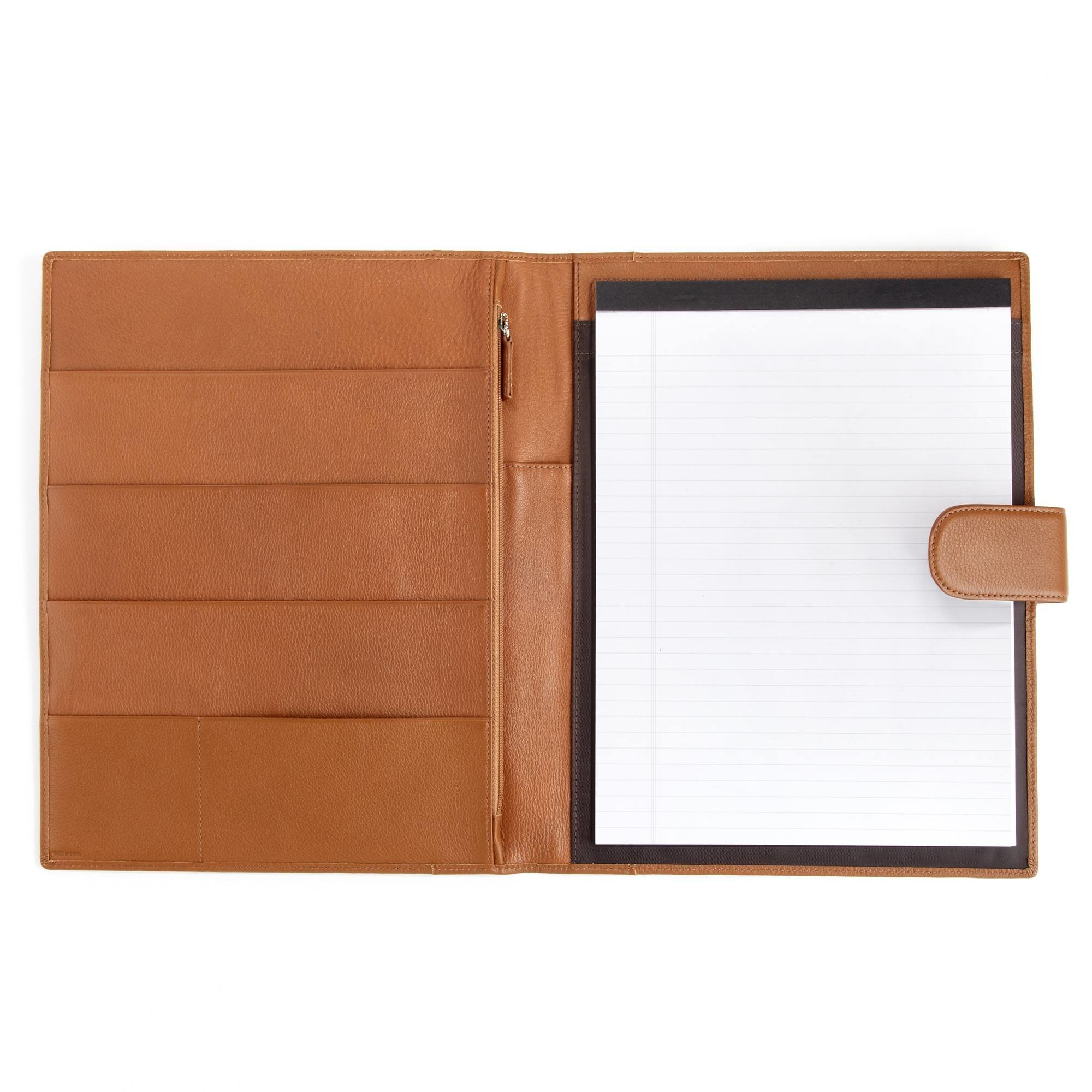 Leatherology Organizer Portfolio with Tablet Pocket & Magnetic Closure - Full Grain Leather - Cognac (brown)