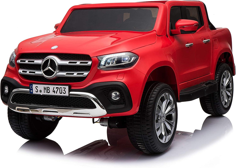 ATAA Mercedes Pickup Dos Asientos 12v - Coche eléctrico niños 2 plazas Dimensiones Extra Grandes con Mando Remoto - Rojo